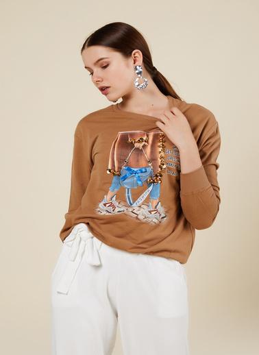 Coral Sweatshirt Camel